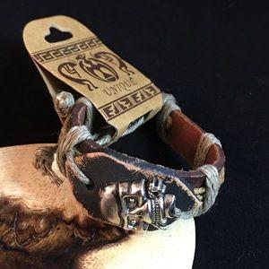 Jewelry - Unique Leather Skull Bracelet New